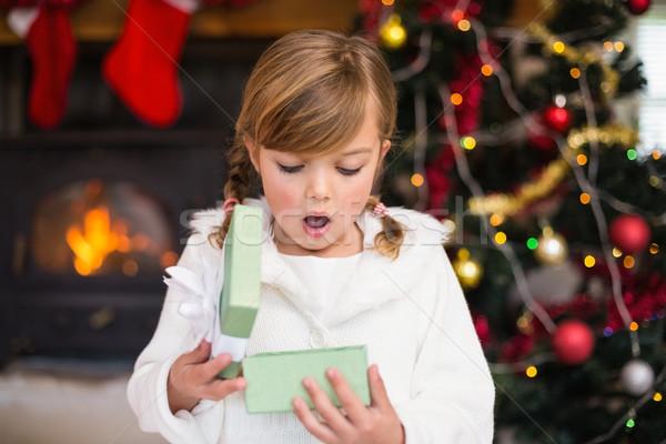 Megrémült kislány nyitás ajándék otthon nappali Stock fotó © wavebreak_media