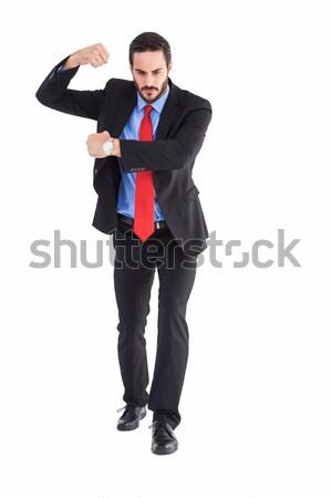 Stockfoto: Gericht · zakenman · iets · handen · witte