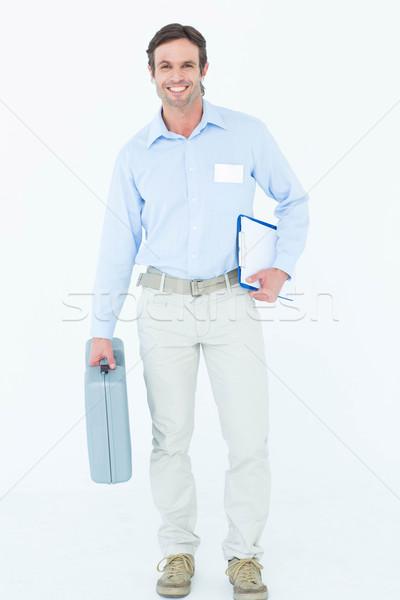 Supervisore cassetta degli attrezzi appunti ritratto bianco Foto d'archivio © wavebreak_media