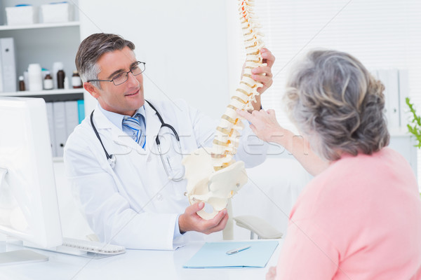 Doctor showing anatomical spine while patient touching it Stock photo © wavebreak_media