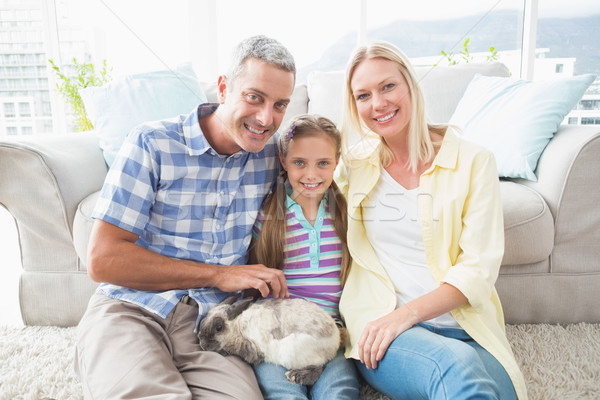 Feliz pais filha rabino sala de estar retrato Foto stock © wavebreak_media