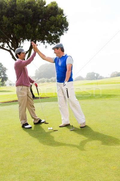 Golfozás barátok magas lyuk golfpálya fű Stock fotó © wavebreak_media