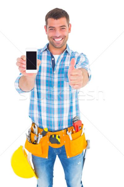 Glücklich Handy weiß gestikulieren Stock foto © wavebreak_media