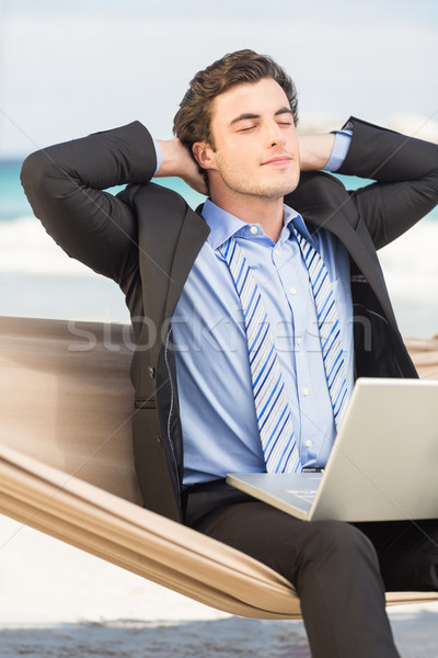 Zakenman ontspannen hangmat strand man gelukkig Stockfoto © wavebreak_media