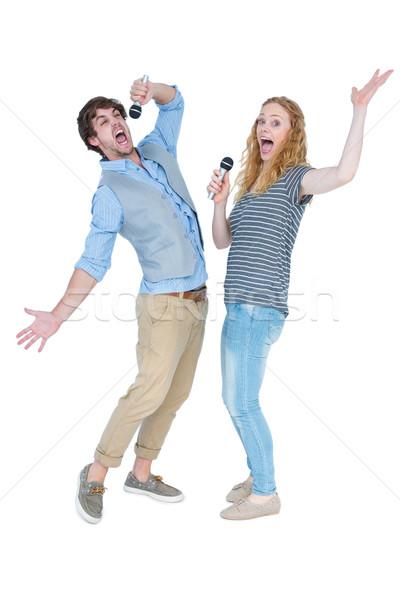 счастливым пару пения женщину человека весело Сток-фото © wavebreak_media