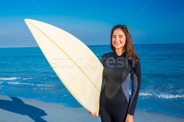 Woman in wetsuit with a surfboard on a sunny day Stock photo © wavebreak_media