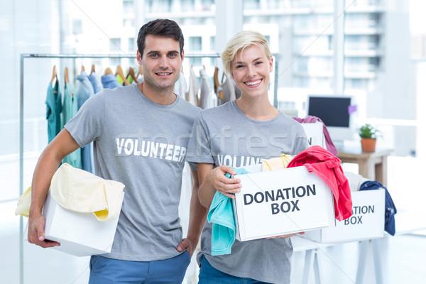 Wolontariusz para darowizna pola szczęśliwy Zdjęcia stock © wavebreak_media