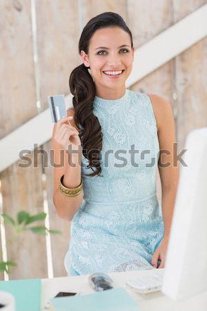 Parrucchiere sorridere fotocamera parrucchiere donna felice Foto d'archivio © wavebreak_media