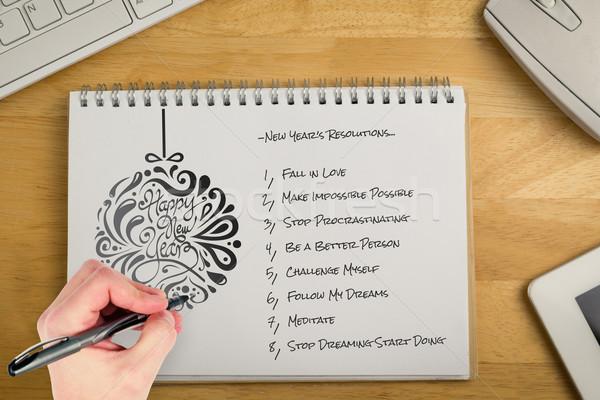 összetett kép kéz ír toll jegyzettömb Stock fotó © wavebreak_media