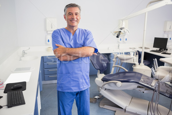Happy dentist standing with arms crossed Stock photo © wavebreak_media