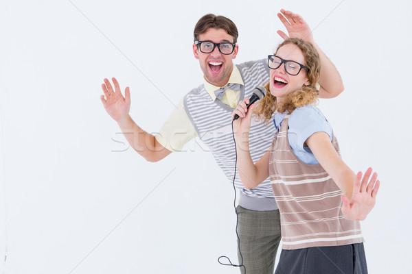 çift şarkı söyleme mikrofon beyaz kadın Stok fotoğraf © wavebreak_media