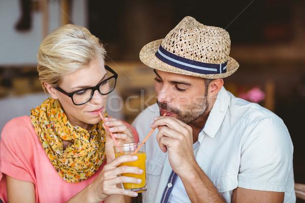 かわいい カップル 日付 オレンジジュース カフェ ストックフォト © wavebreak_media