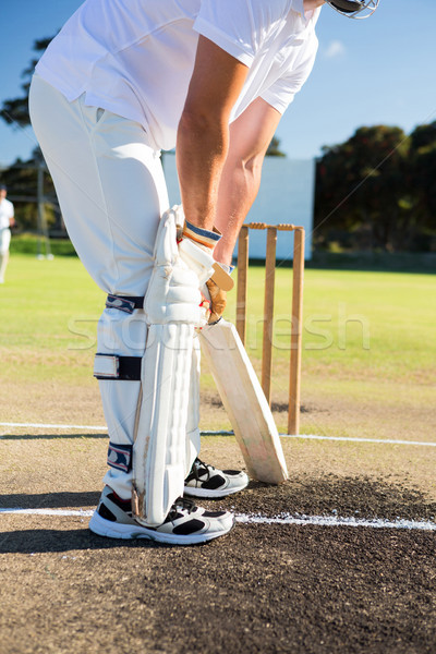 Low section of man playing cricket at sports field Stock photo © wavebreak_media