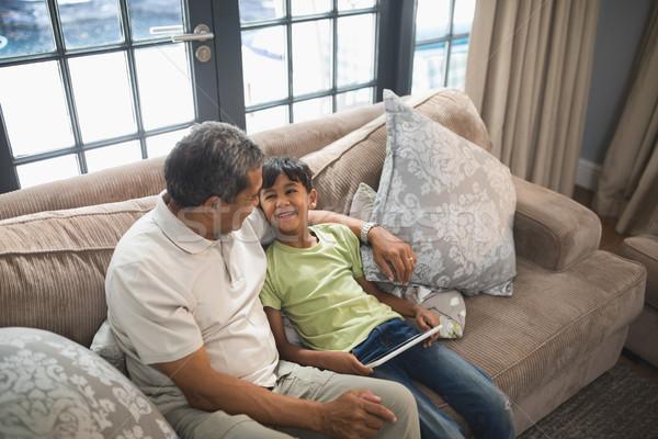 Erkek dijital tablet oturma dede Stok fotoğraf © wavebreak_media