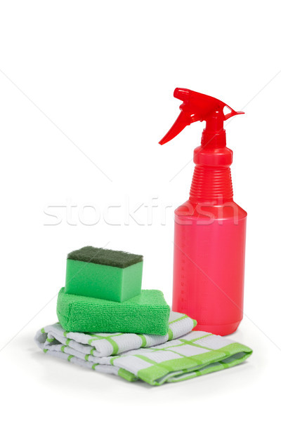 Detergent spray bottle, scouring pad and napkin cloth on white background Stock photo © wavebreak_media