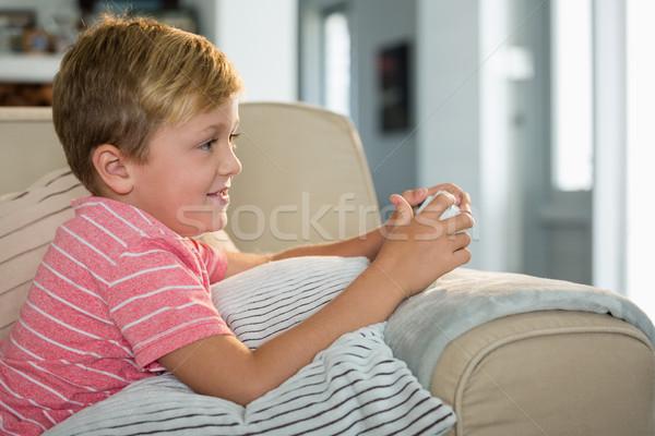 мальчика играет видеоигра гостиной домой интернет Сток-фото © wavebreak_media