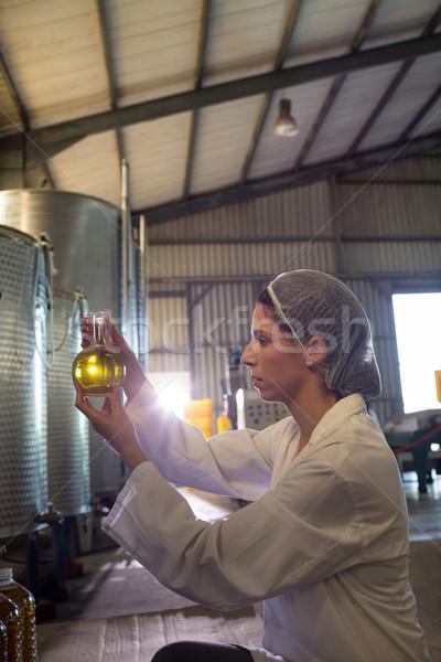 Vrouwelijke technicus onderzoeken olijfolie fabriek business Stockfoto © wavebreak_media