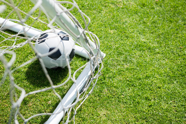 High angle view of soccer ball by goal post Stock photo © wavebreak_media