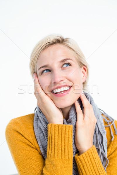 Zdjęcia stock: Uśmiechnięta · kobieta · szalik · kobieta · ubrania