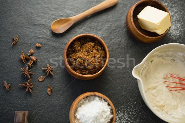 Ciotola ingredienti tavola alimentare legno cucina Foto d'archivio © wavebreak_media
