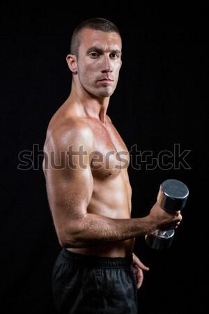 Portré póló nélkül atléta edz súlyzó fekete Stock fotó © wavebreak_media