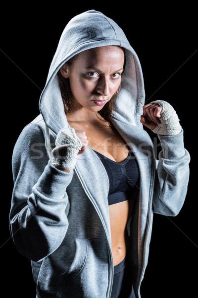 Portré női boxoló harcol hozzáállás fekete Stock fotó © wavebreak_media