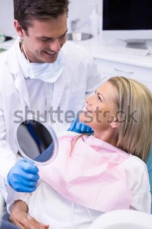 Foto stock: Dentista · paciente · dental · clínica