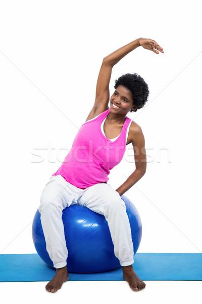 Terhes nő testmozgás labda fehér nő boldog Stock fotó © wavebreak_media