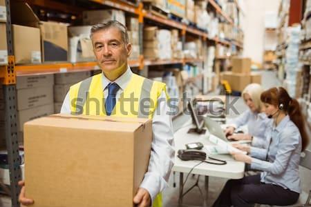 Portré mosolyog raktár menedzserek laptopot használ férfi Stock fotó © wavebreak_media