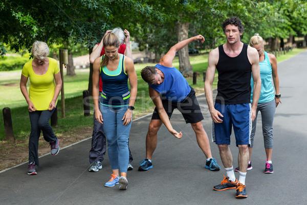 Maratón atletas parque mujer árbol Foto stock © wavebreak_media