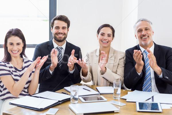 労働 拍手 笑みを浮かべて 作業 ビジネス コンピュータ ストックフォト © wavebreak_media