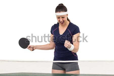 Female table tennis player posing after victory Stock photo © wavebreak_media