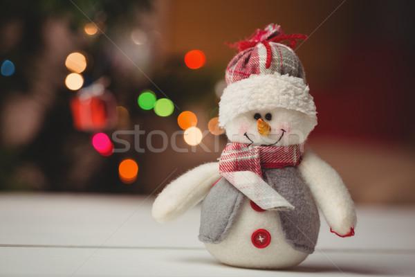 Közelkép hóember fa asztal karácsony idő otthon Stock fotó © wavebreak_media