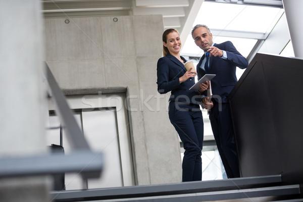Negócio colegas em pé escada falante outro Foto stock © wavebreak_media