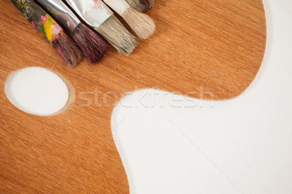 Ahşap paletine boya eğitim tablo yaşam tarzı Stok fotoğraf © wavebreak_media