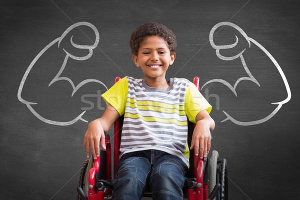 Obraz cute niepełnosprawnych uśmiechnięty kamery Zdjęcia stock © wavebreak_media
