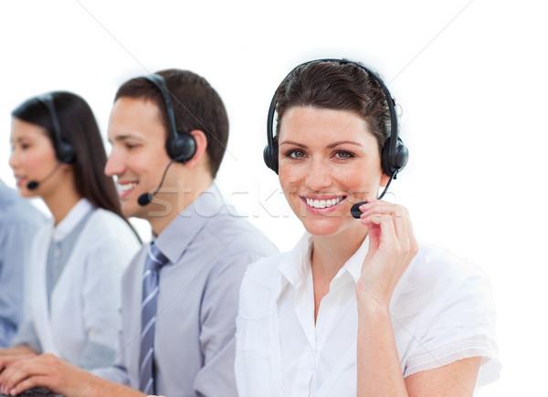 Klantenservice team computer vrouw telefoon Stockfoto © wavebreak_media