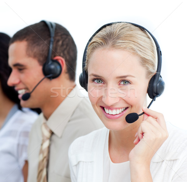 Portraif of a businesswoman and her team working in a call cente Stock photo © wavebreak_media