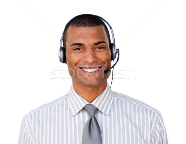 Young ethnic customer service agent with headset on Stock photo © wavebreak_media