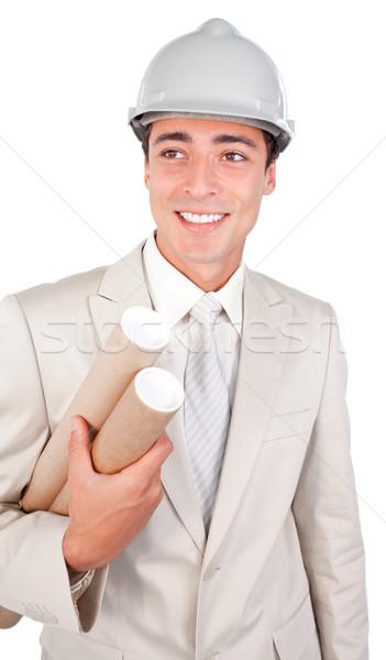Férfi építész visel munkavédelmi sisak izolált fehér Stock fotó © wavebreak_media