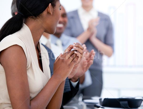 Szczęśliwy zespół firmy spotkanie firmy kobieta Zdjęcia stock © wavebreak_media