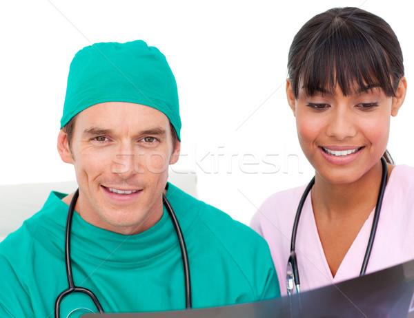 Dois médicos olhando raio x branco saúde Foto stock © wavebreak_media
