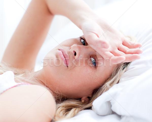 больным женщину кровать домой девушки медицинской Сток-фото © wavebreak_media