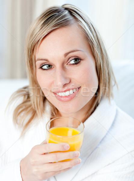 Stockfoto: Portret · charmant · vrouw · sinaasappelsap · home