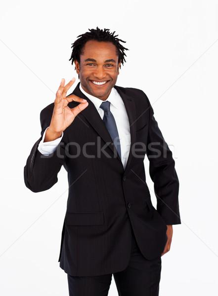 Friendly afro-american businessman showing okay sign  Stock photo © wavebreak_media