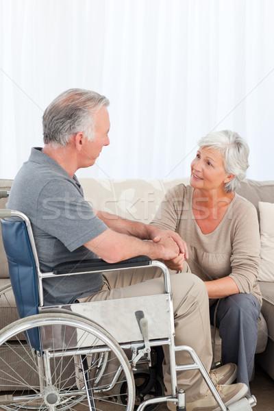 Kadın koca tekerlekli sandalye çift hareketli konuşmak Stok fotoğraf © wavebreak_media