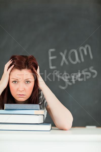 Portret angstig student klas school achtergrond Stockfoto © wavebreak_media