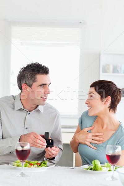 男 かわいい ガールフレンド ダイニングルーム ワイン 光 ストックフォト © wavebreak_media