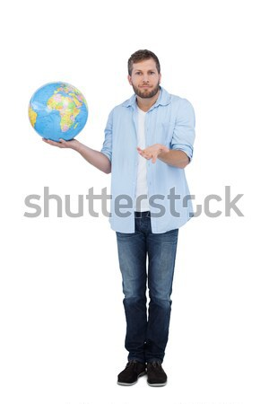 Jonge verkoper wereldbol palm witte Stockfoto © wavebreak_media