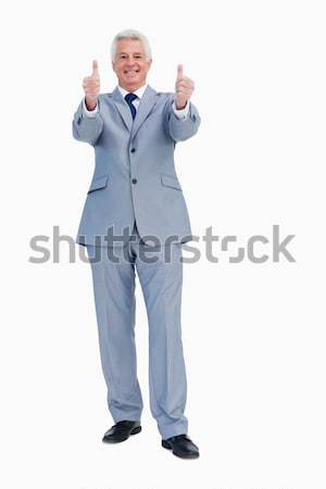 Portret zakenman witte hand Blauw corporate Stockfoto © wavebreak_media